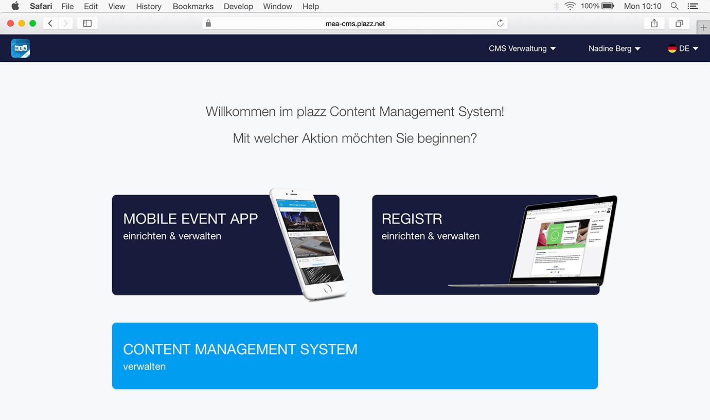 Startseite CMS für MEA und registr
