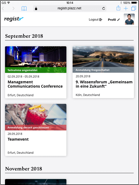 Veranstaltungsansicht für eingeladene Teilnehmer