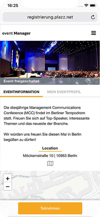 Ansicht der Eventinformationen im Detail